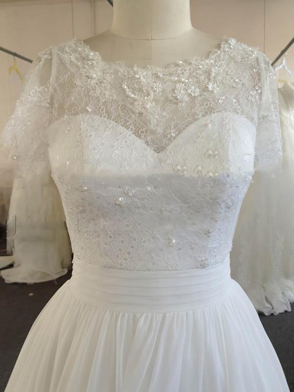 A-line Chiffon Lace Beading Ivory Short Sleeve Scoop Neck Wedding Dresses #LDB00022024