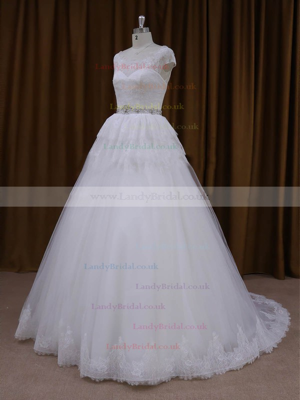 A-line Court Train White Lace Tulle Beading Lace-up Cap Straps Wedding Dresses #LDB00022025