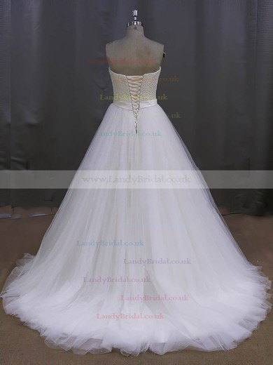 Ivory Sweep Train Sweetheart Tulle Pearl Detailing Lace-up Wedding Dress #LDB00022026