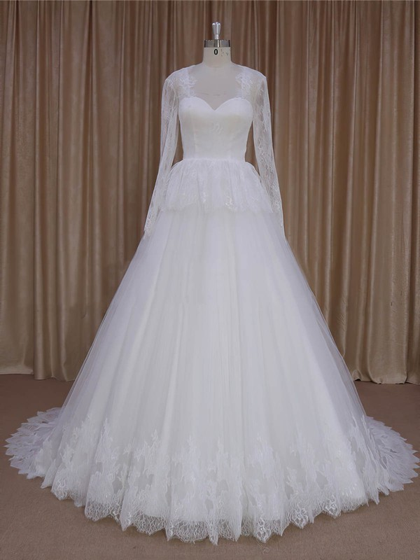 V-neck Lace Tulle Appliques Lace Court Train Ivory Long Sleeve Wedding Dresses #LDB00022027