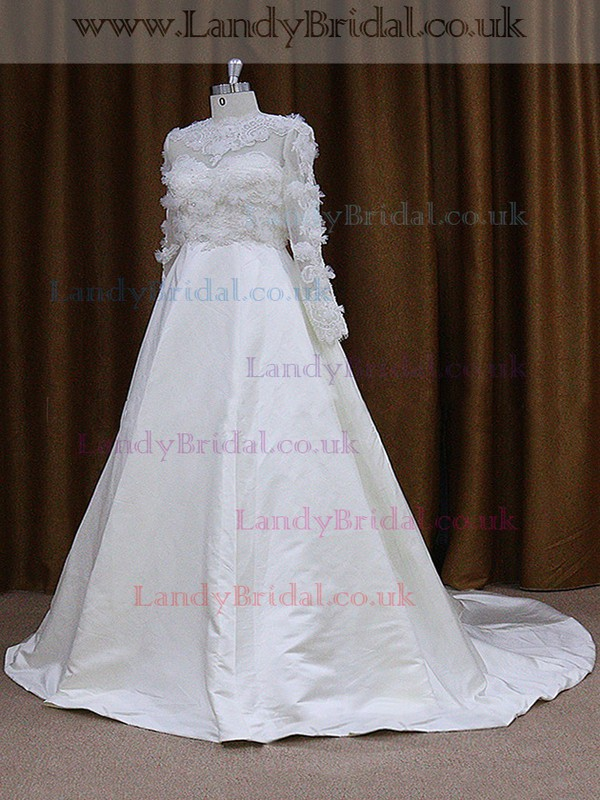 A-line Long Sleeve Ivory Satin Appliques Lace Scoop Neck Wedding Dresses #LDB00022029