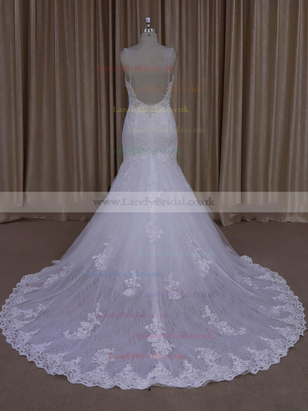 Different Trumpet/Mermaid Ivory Tulle Appliques Lace V-neck Wedding Dress #LDB00022030