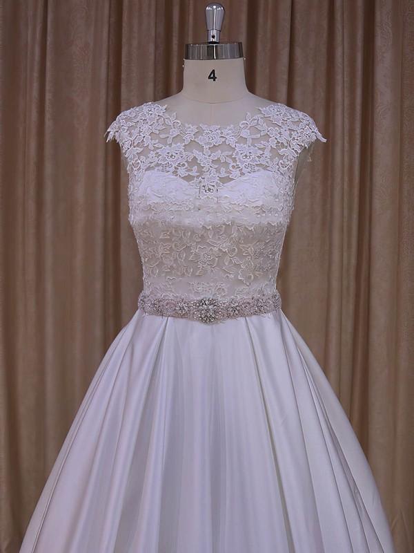 Ivory Cap Straps Scoop Neck Satin Appliques Lace Lace-up Wedding Dresses #LDB00022031