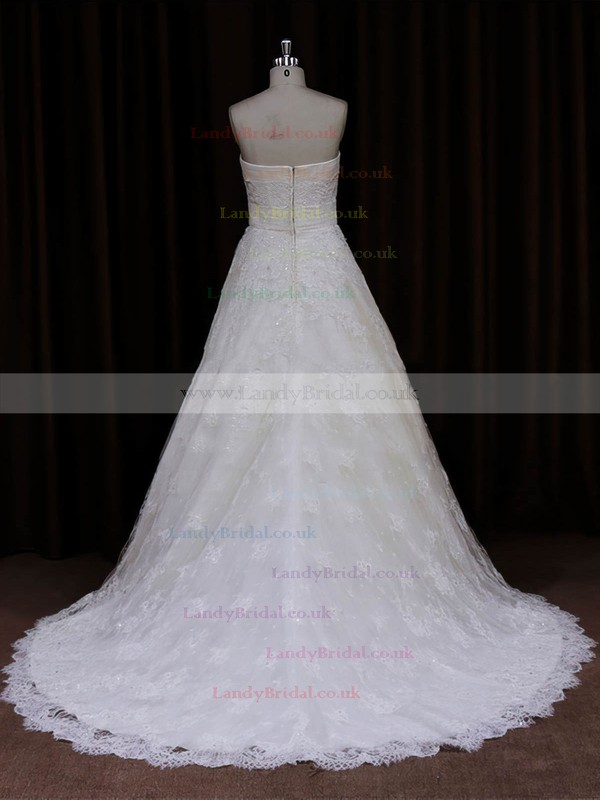 Elegant Strapless Ivory Lace Sashes / Ribbons Sweep Train Wedding Dresses #LDB00022032