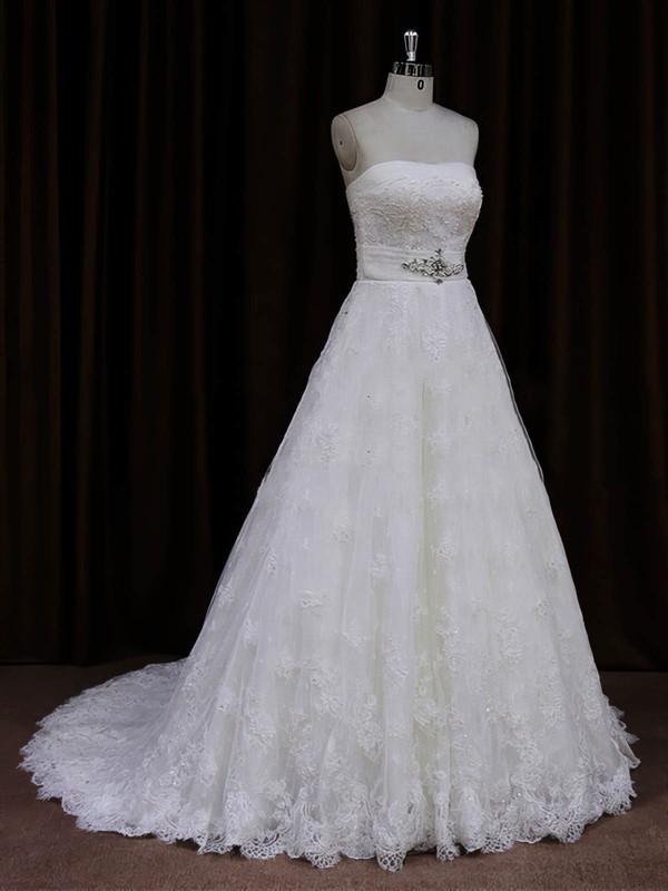 Elegant Strapless Ivory Lace Sashes / Ribbons Sweep Train Wedding Dresses #LDB00022032