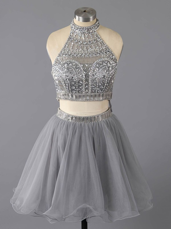 b27c98d4a3f Unique Two Piece Gray Tulle Crystal Detailing High Neck Short Prom Dress   LDB02016369