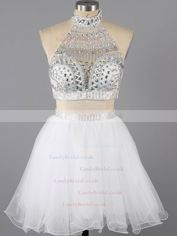 Unique Two Piece Gray Tulle Crystal Detailing High Neck Short Prom Dress #LDB02016369