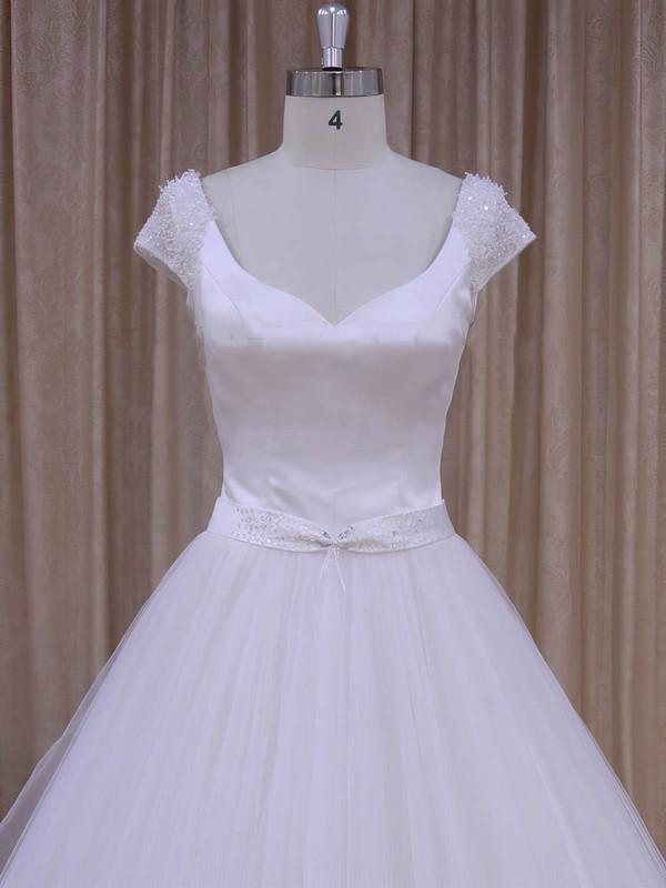 V-neck Beading Court Train Short Sleeve White Satin Tulle Wedding Dresses #LDB00022033