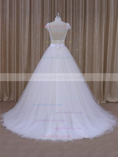 V-neck Beading Court Train Short Sleeve White Satin Tulle Wedding Dresses #LDB00022033