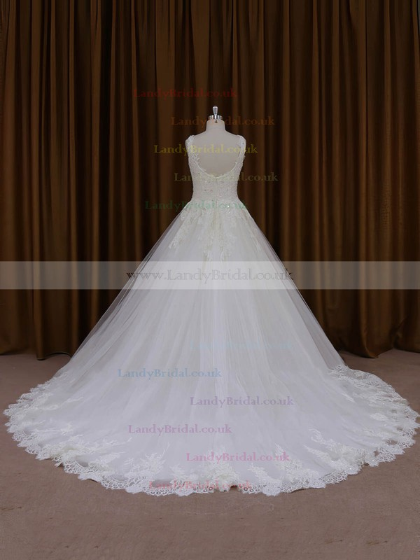 Affordable Ball Gown Ivory Tulle Appliques Lace Chapel Train Wedding Dresses #LDB00022035
