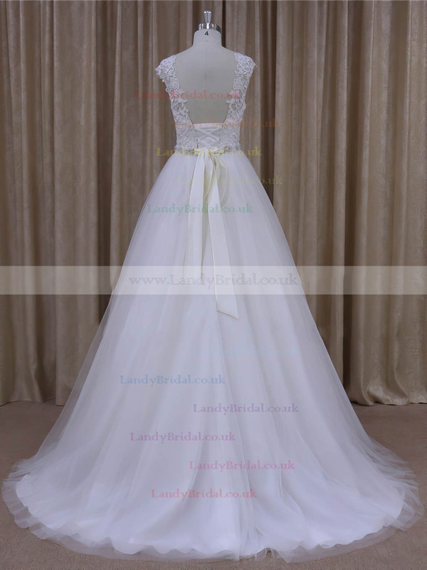 Scoop Neck Tulle Lace Beading Court Train Cap Straps White Wedding Dresses #LDB00022036