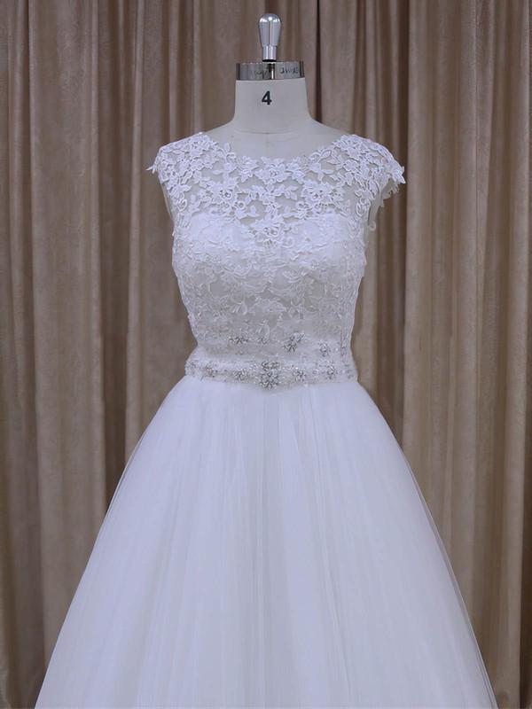 Scoop Neck Tulle Lace Beading Court Train Cap Straps White Wedding Dresses #LDB00022036