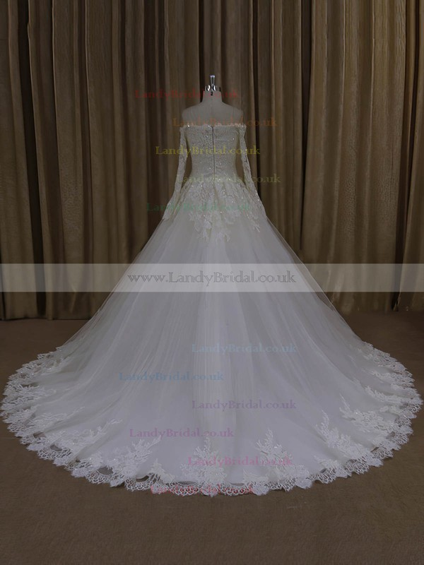 Off-the-shoulder Ivory Tulle Appliques Lace Long Sleeve Chapel Train Wedding Dresses #LDB00022037