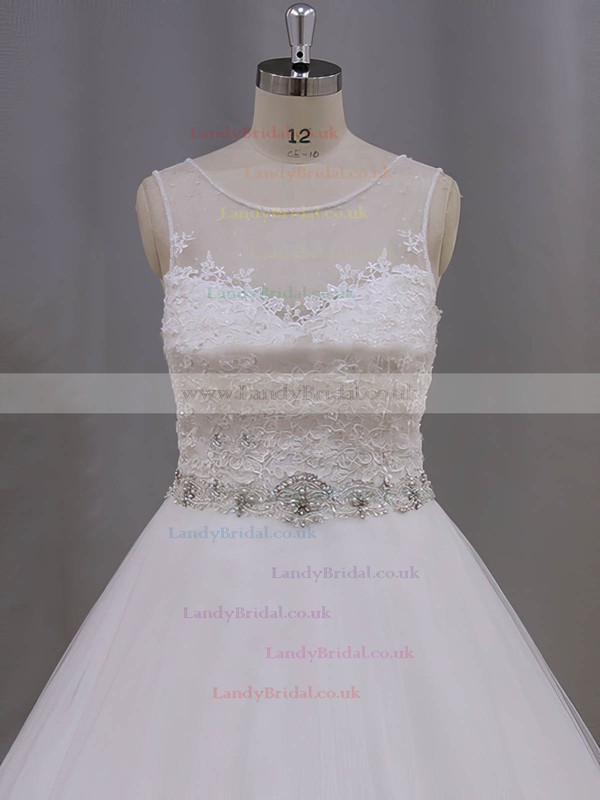 Perfect Ball Gown Ivory Tulle Chapel Train Appliques Lace Wedding Dresses #LDB00022038