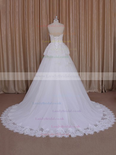 Princess Appliques Lace Ivory Lace Tulle Lace-up Strapless Wedding Dresses #LDB00022039