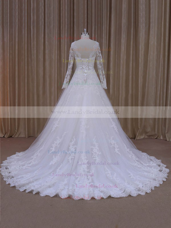 Scalloped Neck Ivory Tulle Long Sleeve Appliques Lace Court Train Wedding Dresses #LDB00022040