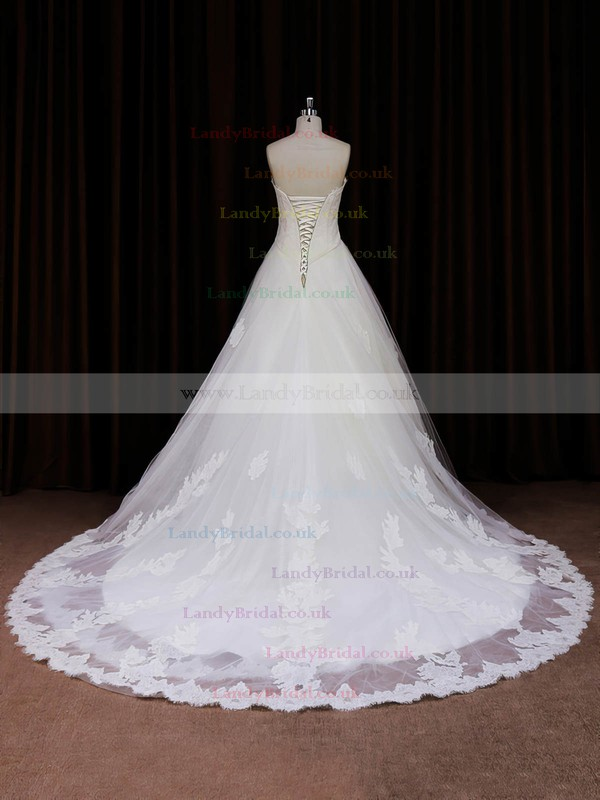 Princess Sweetheart Ivory Tulle Lace-up Appliques Lace Wedding Dresses #LDB00022041