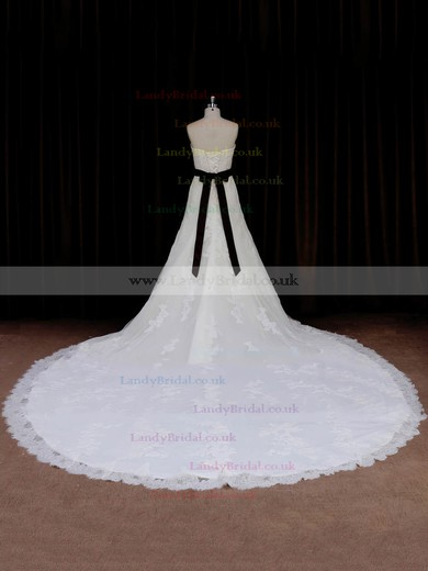 Sweetheart Sashes / Ribbons Ivory Lace Tulle Cathedral Train Exclusive Wedding Dresses #LDB00022042