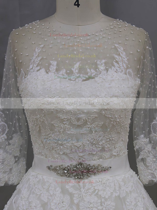 Scoop Neck 3/4 Sleeve Appliques Lace Chapel Train Ivory Tulle Wedding Dresses #LDB00022043