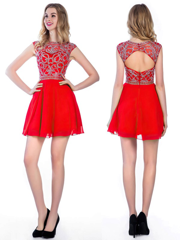 Short/Mini Scoop Neck Cap Straps Elegant Red Chiffon Tulle Open Back Prom Dresses #LDB02016374