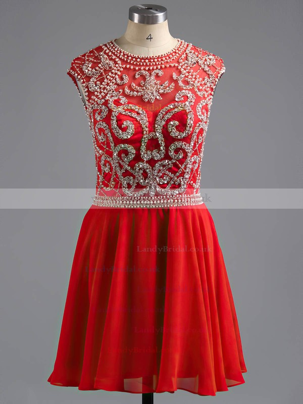 Short/Mini Scoop Neck Cap Straps Elegant Red Chiffon Tulle Open Back Prom Dresses #LDB02016374