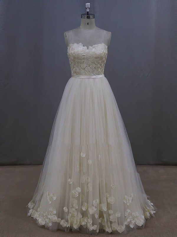 A-line Tulle Appliques Lace Ivory Lace-up Sweep Train Wedding Dresses #LDB00022044