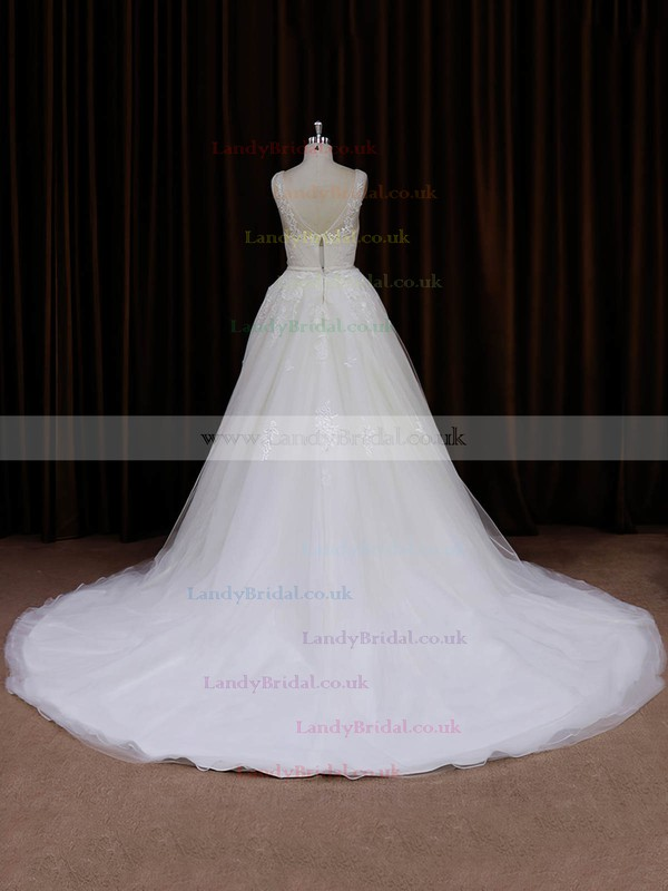 V-neck Ivory Tulle Appliques Lace Chapel Train Hot Wedding Dresses #LDB00022046