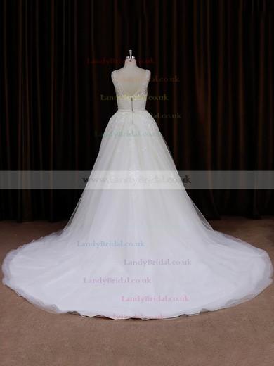 V-neck Ivory Tulle Appliques Lace Chapel Train Hot Wedding Dresses #LDB00022046