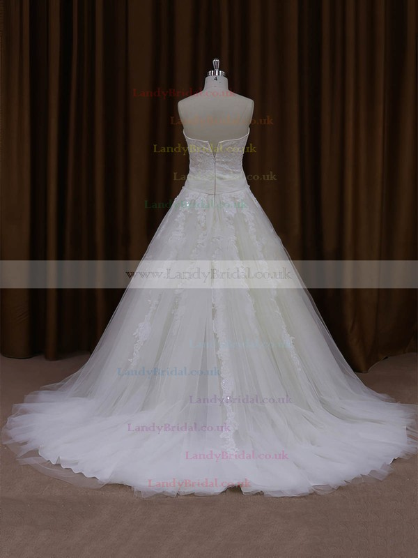 Top Ball Gown Appliques Lace Court Train Ivory Tulle Wedding Dresses #LDB00022047