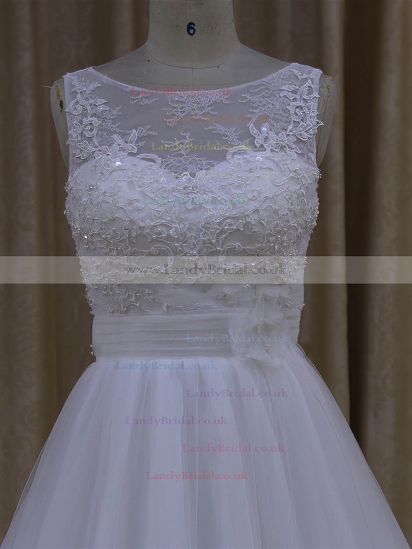 Discounted Scoop Neck Tulle Court Train Appliques Lace Ivory Wedding Dresses #LDB00022048