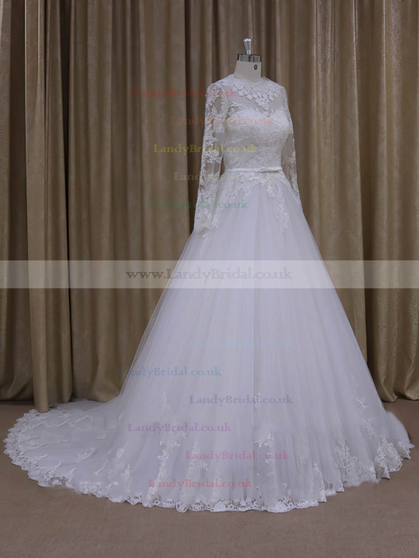 Chapel Train Scoop Neck Tulle Long Sleeve Appliques Lace Ivory Wedding Dresses #LDB00022050