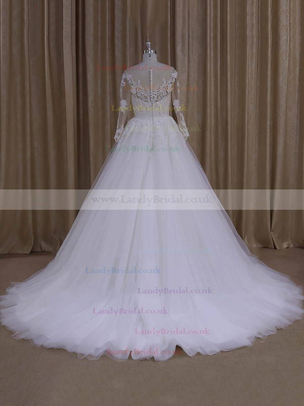 Princes Long Sleeve Appliques Lace Court Train Ivory Tulle Wedding Dresses #LDB00022051