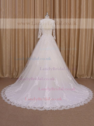 Ivory Tulle Appliques Lace Long Sleeve Chapel Train Scoop Neck Wedding Dresses #LDB00022052