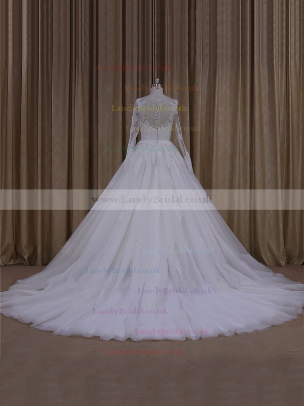 Ball Gown Tulle Long Sleeve Appliques Lace Chapel Train Ivory Wedding Dresses #LDB00022054