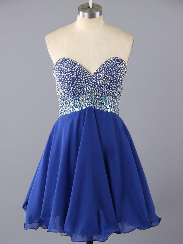 Cute Sweetheart Chiffon with Beading Short/Mini Royal Blue Prom Dress #LDB02016375