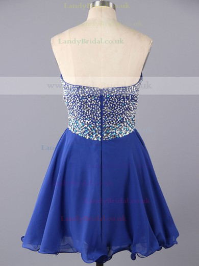 Cute Sweetheart Chiffon with Beading Short/Mini Royal Blue Prom Dress #LDB02016375