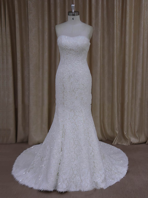 Sparkly Trumpet/Mermaid Strapless Beading Ivory Lace Wedding Dresses #LDB00022055