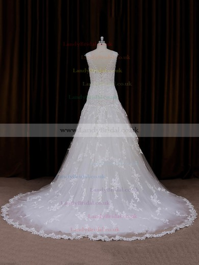 Sweetheart Tulle Court Train Ivory Appliques Lace Sweet Wedding Dresses #LDB00022057
