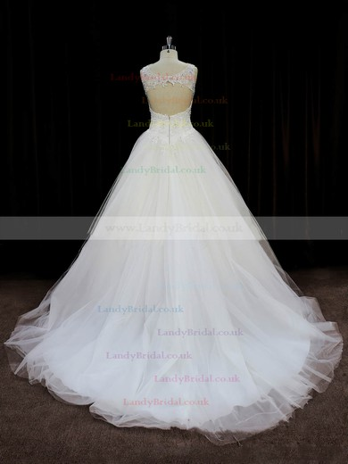 Ivory Tulle Beading Open Back Court Train Ball Gown Wedding Dresses #LDB00022058