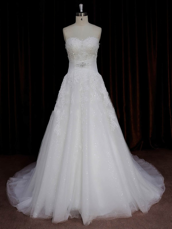 Sweetheart Appliques Lace Ivory Tulle A-line Boutique Wedding Dresses #LDB00022059