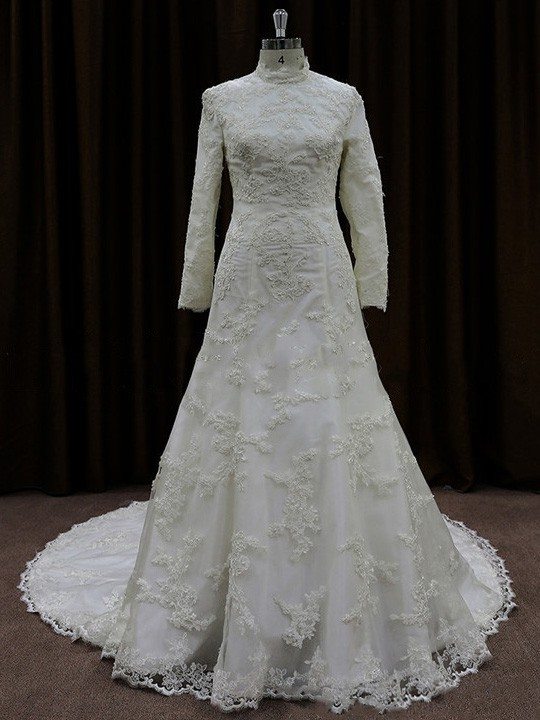 High Neck Satin Tulle Appliques Lace Court Train Ivory Long Sleeve Wedding Dresses #LDB00022060