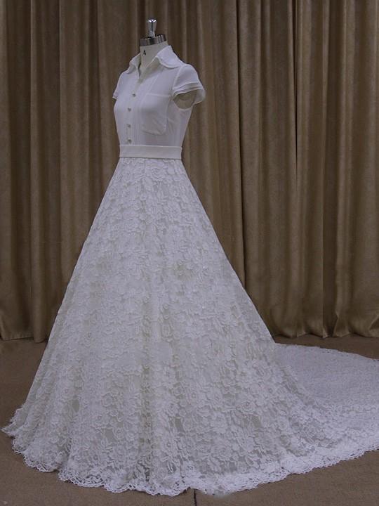 A-line Ivory Lace Ruffles Cap Straps Chapel Train Wedding Dresses #LDB00022061