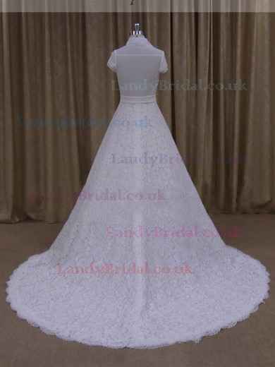 A-line Ivory Lace Ruffles Cap Straps Chapel Train Wedding Dresses #LDB00022061