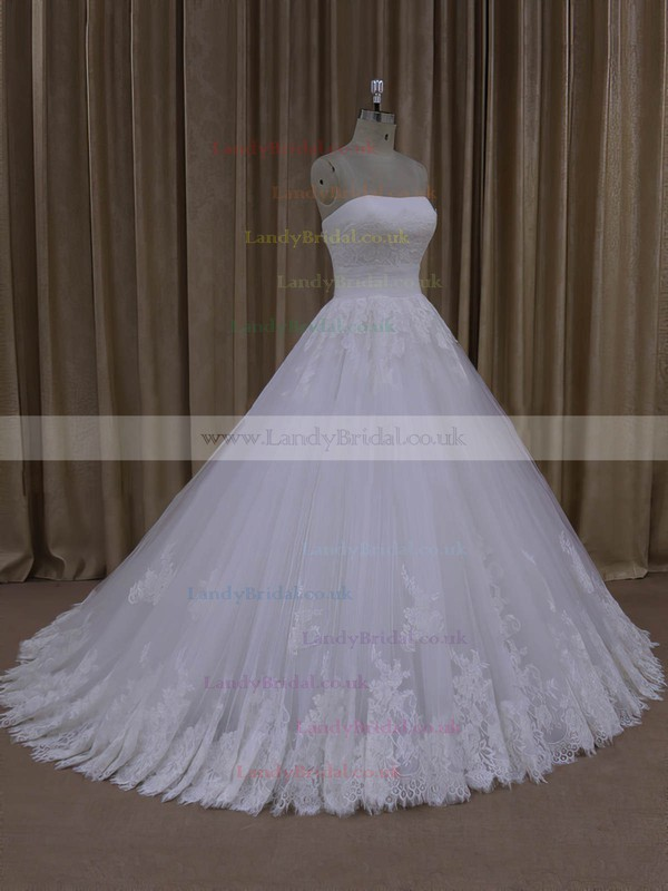 Ball Gown Tulle Appliques Lace Ivory Lace-up Strapless Wedding Dresses #LDB00022062