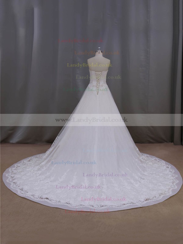 Strapless Pearl Detailing Chapel Train Lace-up Ivory Lace Tulle Wedding Dresses #LDB00022063