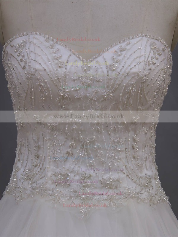 Pretty A-line Tulle Beading Ivory Sweetheart Wedding Dresses #LDB00022064