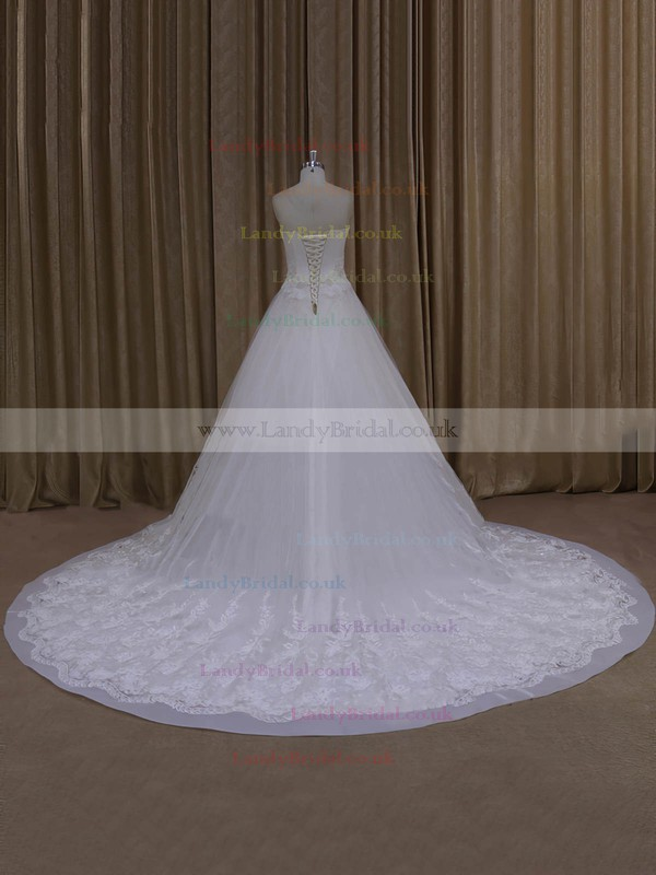 Chapel Train Appliques Lace Ivory Lace Tulle Lace-up A-line Wedding Dresses #LDB00022065