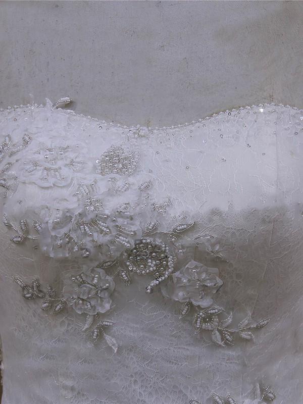 Chapel Train Appliques Lace Ivory Lace Tulle Lace-up A-line Wedding Dresses #LDB00022065
