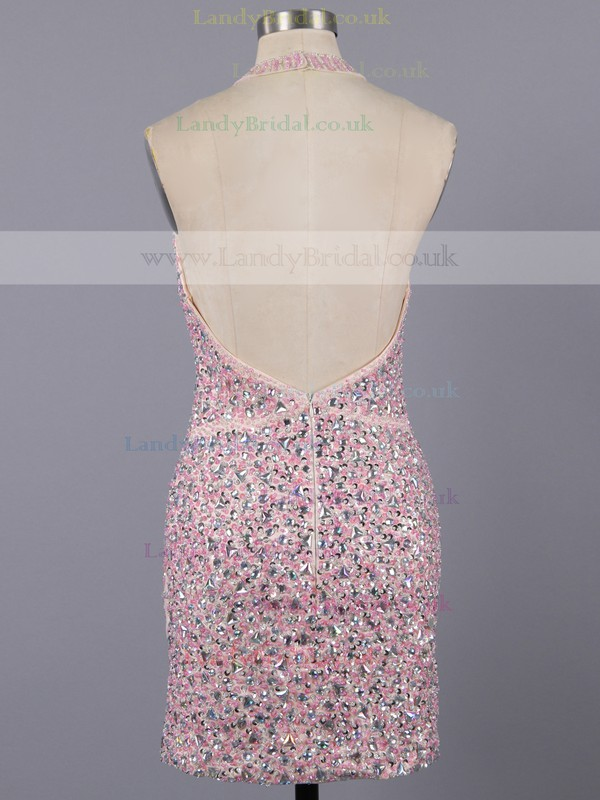 Girls Sheath/Column Halter Tulle Crystal Detailing Backless Short Prom Dress #LDB02016376