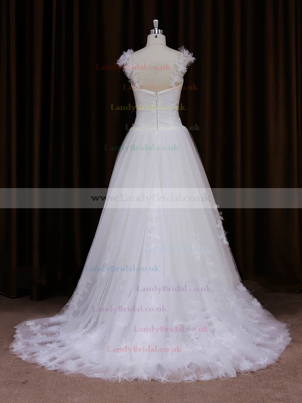 Great Sweetheart Appliques Lace Sweep Train Ivory Tulle Wedding Dresses #LDB00022066